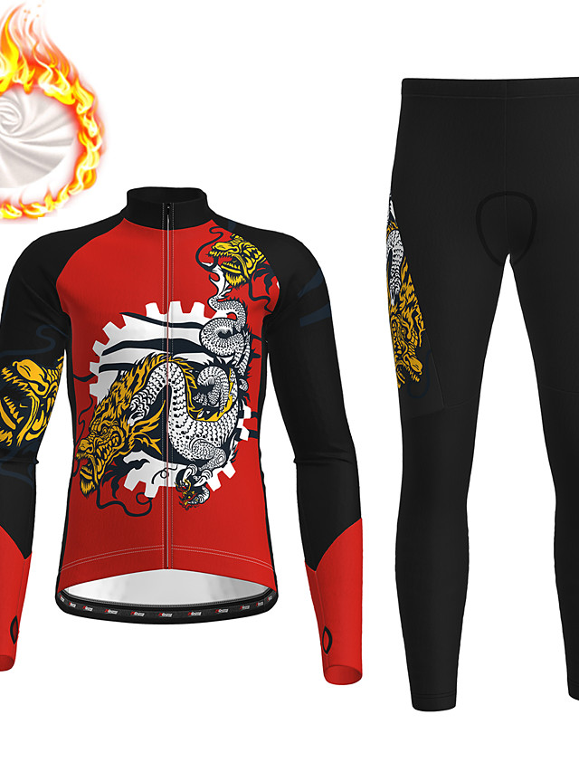 21Grams Men's Long Sleeve Cycling Jersey with Tights Winter Fleece Polyester Red Dragon Bike Clothing Suit Fleece Lining 3D Pad Warm Quick Dry Breathable Sports Dragon Mountain Bike MTB Road Bike