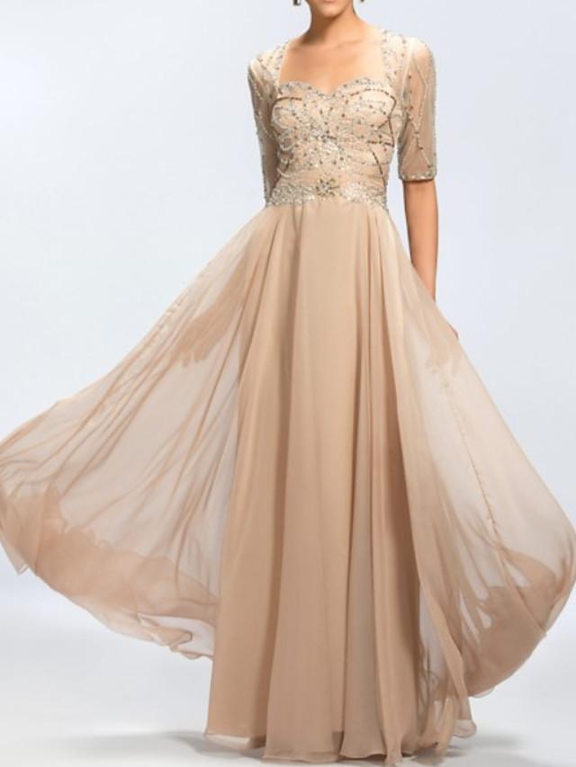 A-Line Elegant Luxurious Engagement Formal Evening Dress Scoop Neck Half Sleeve Floor Length Chiffon with Sash / Ribbon Pleats 2020