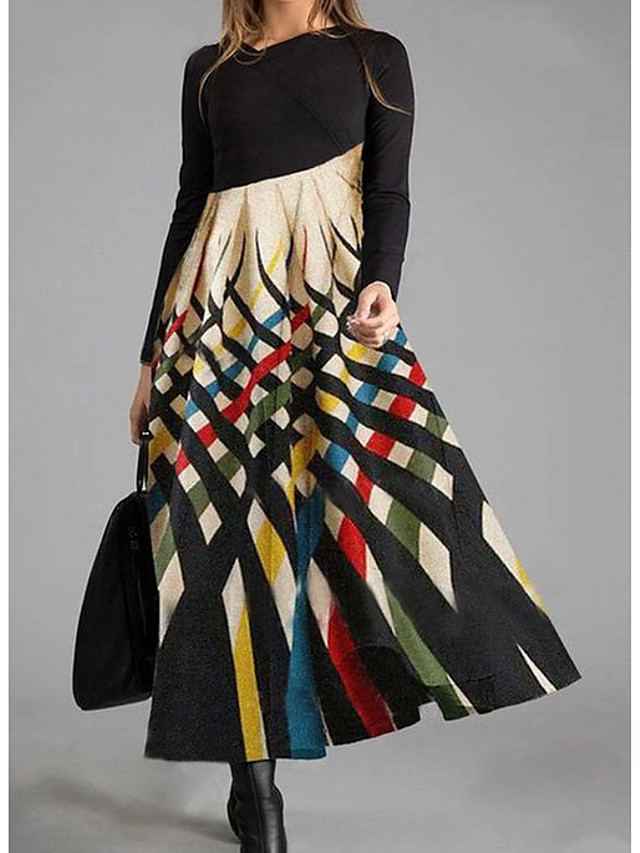 Women's Shift Dress Maxi long Dress Long Sleeve Color Block Print Fall Winter Casual 2021 Rainbow M L XL XXL 3XL