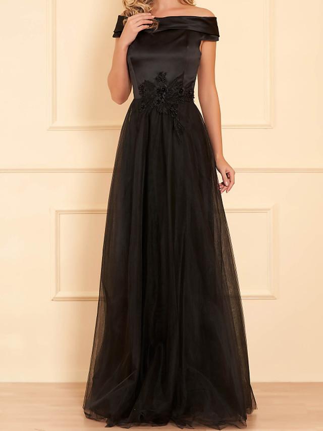 A-Line Elegant Floral Wedding Guest Formal Evening Dress Off Shoulder Sleeveless Floor Length Satin Tulle with Beading Appliques 2020