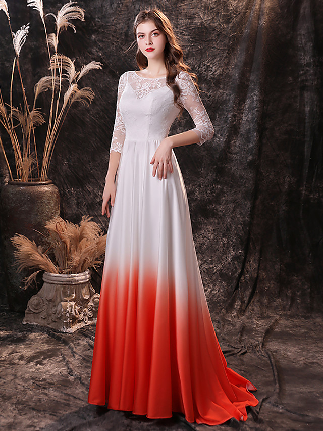 A-Line Color Block Vintage Prom Formal Evening Dress Jewel Neck 3/4 Length Sleeve Sweep / Brush Train Chiffon Lace with Lace Insert 2020