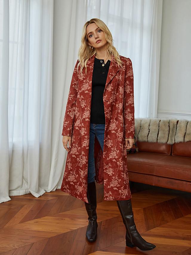 Women's Geometric Print Basic Fall & Winter Long Sleeve Rayon Coat