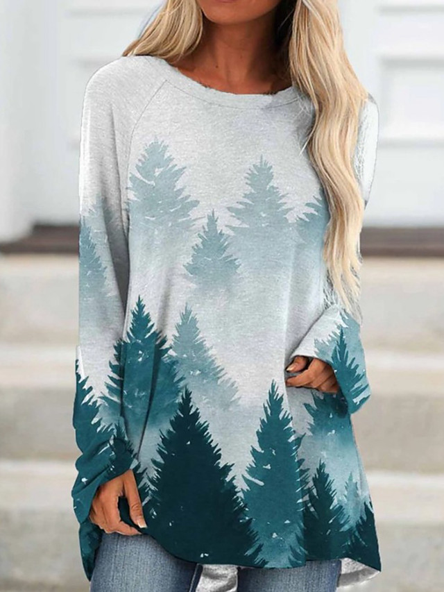 Women's Shift Dress Short Mini Dress Blue Green Long Sleeve Print Print Fall Round Neck Boho 2021 S M L XL XXL 3XL 4XL