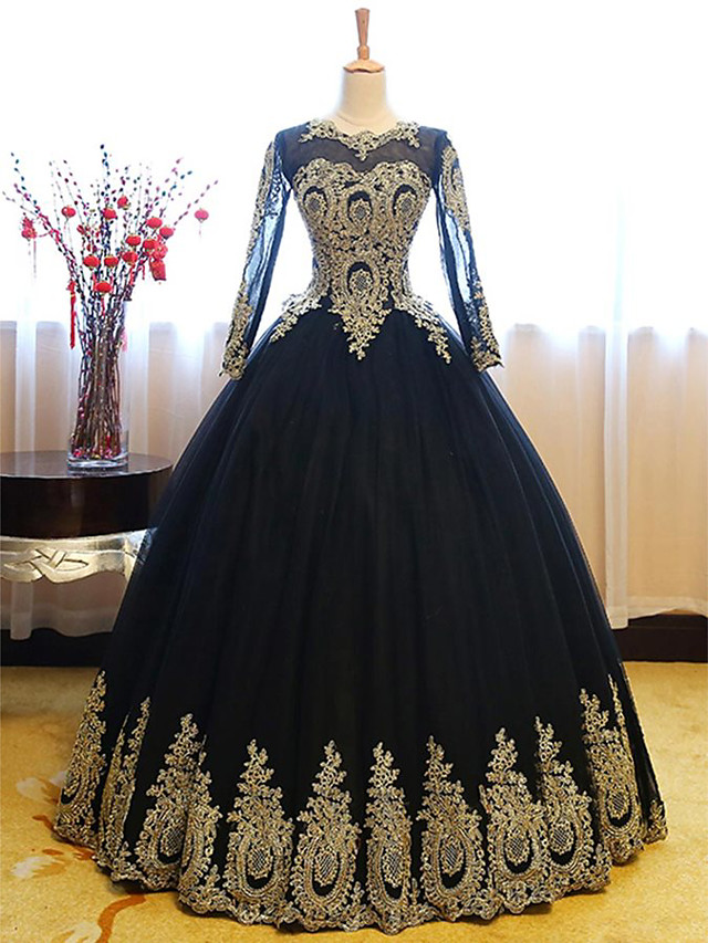 Ball Gown Luxurious Vintage Quinceanera Formal Evening Dress Jewel Neck Long Sleeve Floor Length Lace Tulle with Appliques 2020