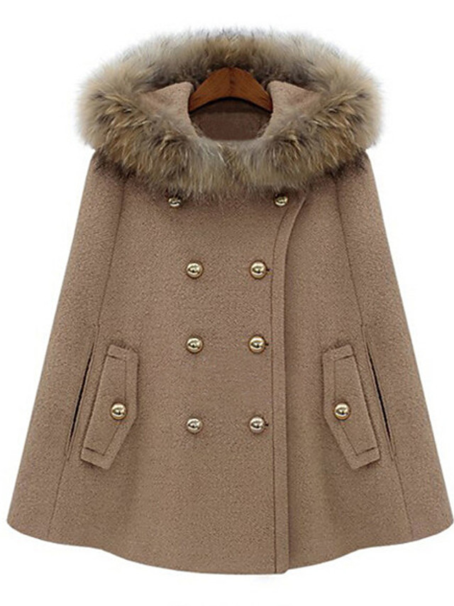Women's Fall & Winter Cloak / Capes Regular Solid Colored Daily Basic Wool Camel S M L