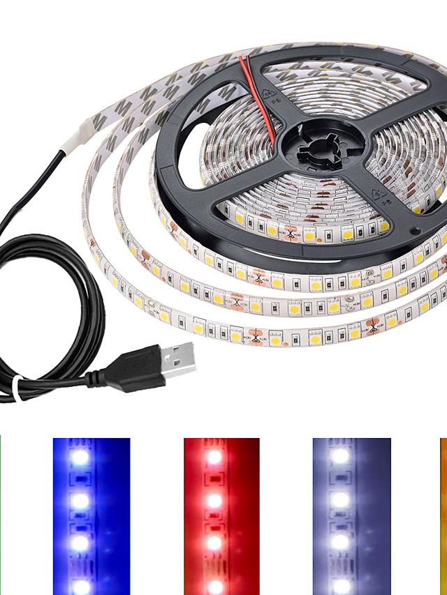 led stripe lys usb med bryterkontroll usb-kontakt tv bakgrunnsbelysning bar 5v lysstang av flerfarget 5050 smd 60led per meter
