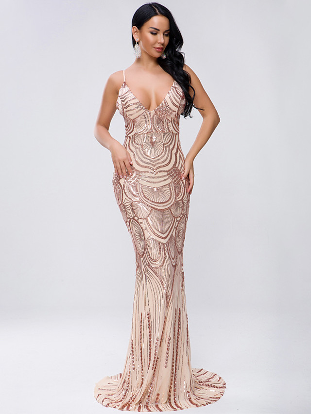 Sheath / Column Sexy Sparkle Prom Formal Evening Dress Spaghetti Strap Sleeveless Sweep / Brush Train Spandex Sequined with Sequin 2020