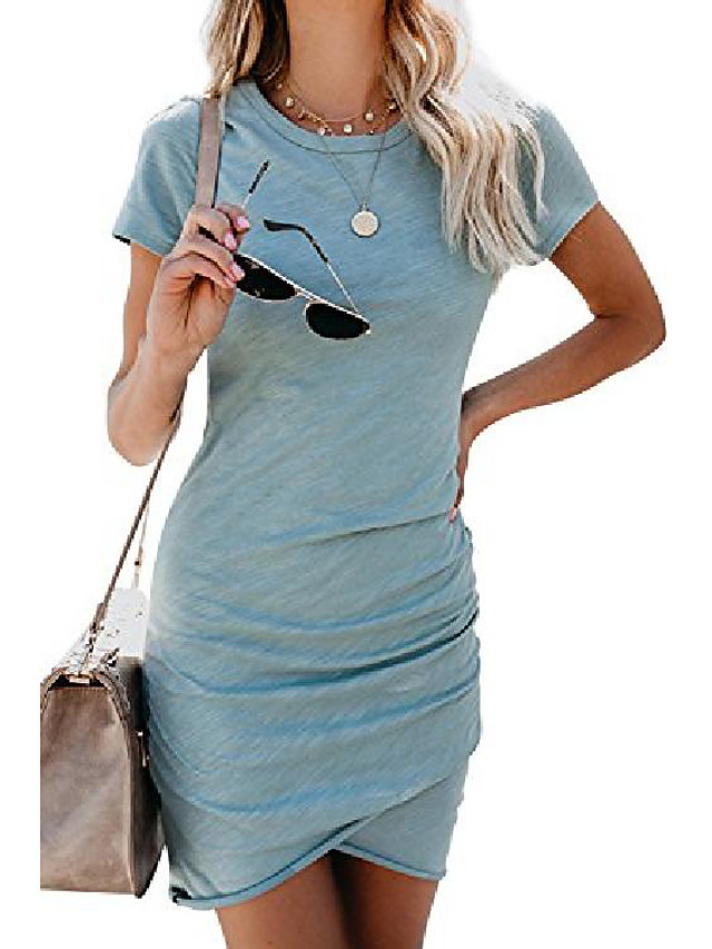 women's casual v neck short sleeve ruched bodycon t shirt short mini dresses with faux button