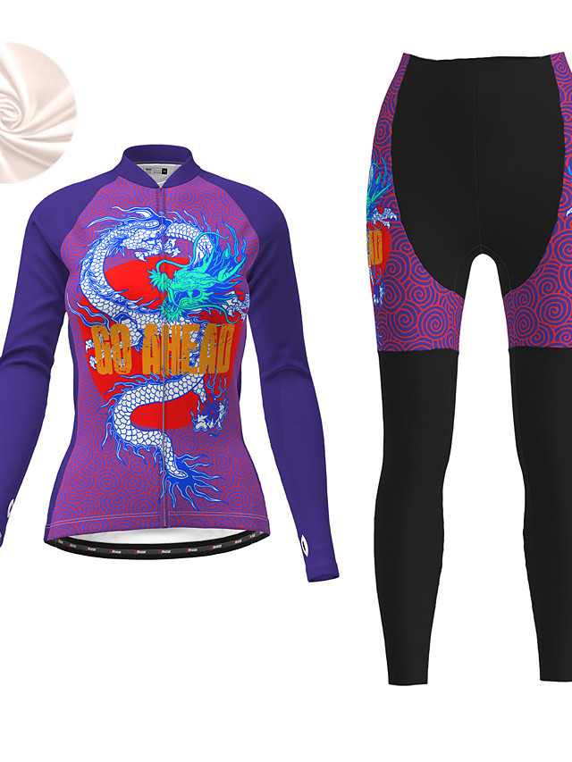 21Grams Women's Long Sleeve Cycling Jersey with Tights Winter Fleece Polyester Black / Yellow Purple Dragon Bike Clothing Suit Fleece Lining 3D Pad Warm Quick Dry Breathable Sports Dragon Mountain