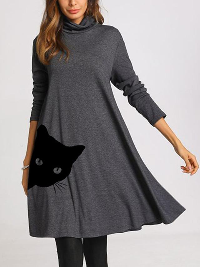 Women's Swing Dress Knee Length Dress Long Sleeve Print Cat Patchwork Print Fall Spring Casual 2021 Dusty Blue Gray S M L XL XXL