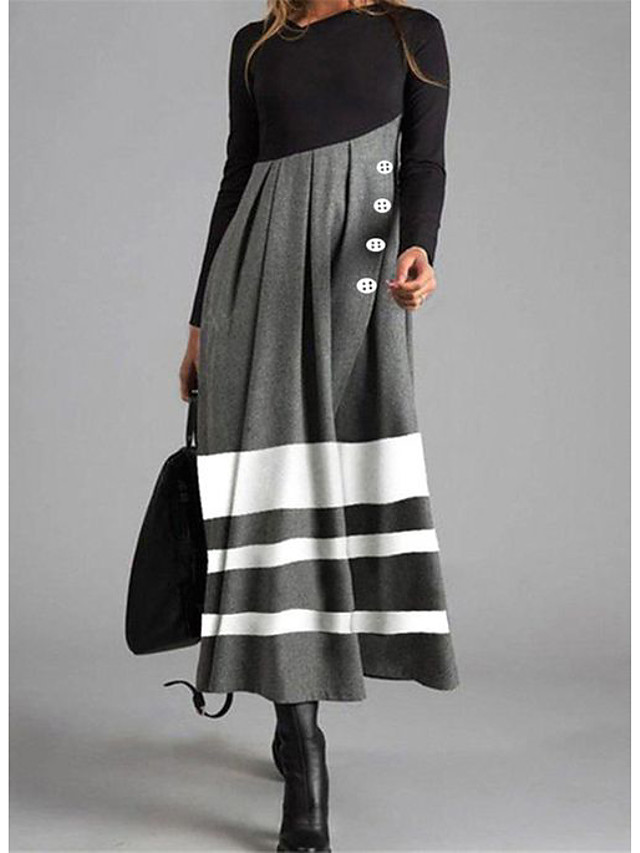 Women's Shift Dress Maxi long Dress Long Sleeve Striped Color Block Button Fall Winter Casual 2021 Gray M L XL XXL 3XL