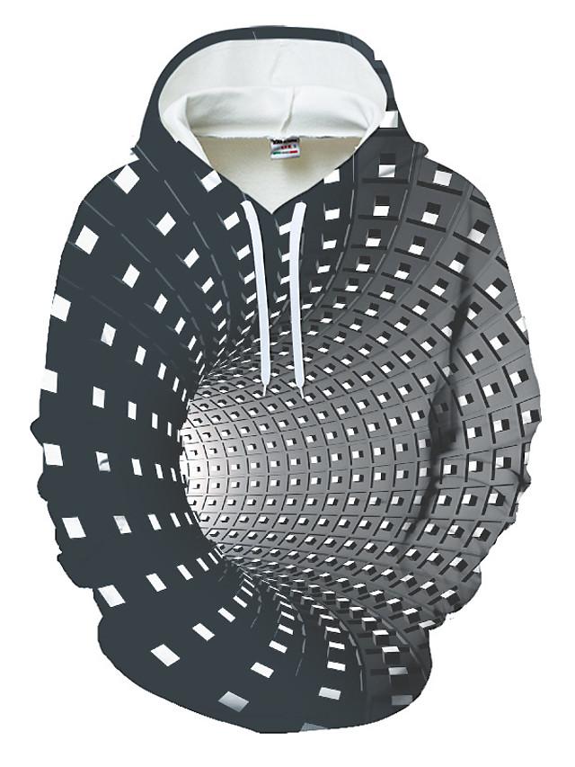 Men's Hoodie Color Block Geometric 3D Pocket Streetwear Hooded Daily Sports 3D Print 3D Print Pattern Hoodies Sweatshirts  Long Sleeve Black Blue Purple / Winter