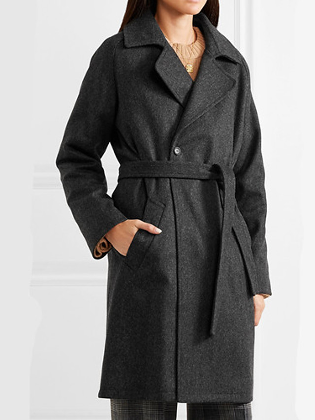 Women's Fall & Winter Coat Long Solid Colored Daily Basic Black S M L XL