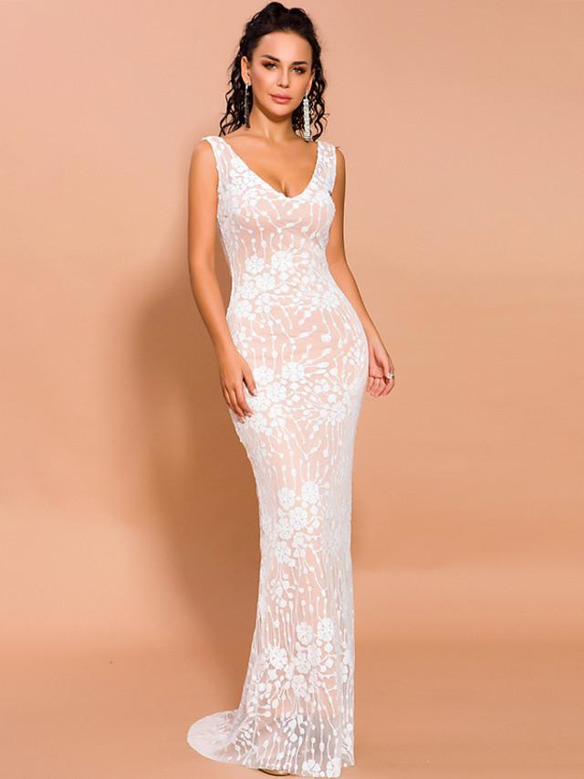 Sheath / Column Elegant Floral Prom Formal Evening Dress V Neck Sleeveless Floor Length Spandex Lace with Appliques 2020