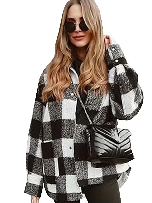 Women's Fall & Winter Coat Regular Color Block Daily Basic Black Blue Green Brown S M L XL