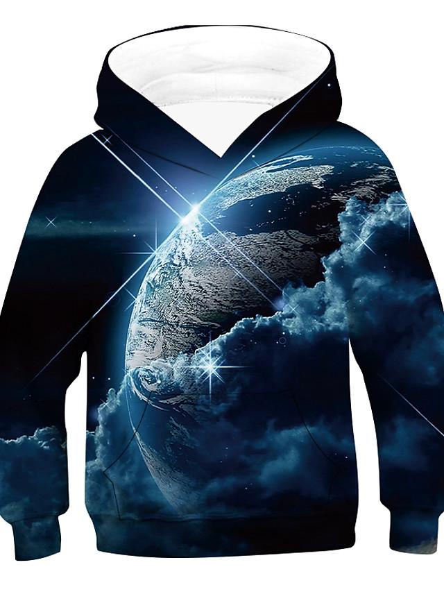 Kids Boys' Hoodie & Sweatshirt Long Sleeve Space 3D Print Galaxy Earth Planet Blue Purple Red Children Tops Active Basic Children's Day 2-12 Years