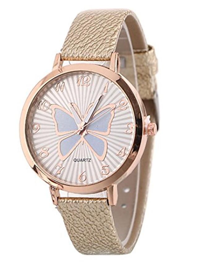 women's butterfly watches creative pattern quartz watch leather strap belt table watch (beige)