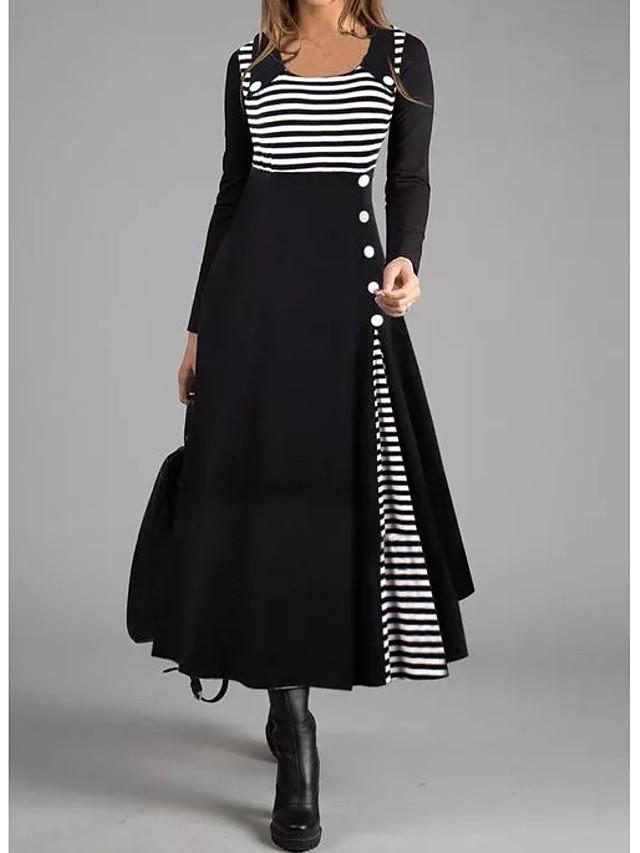 Women's Shift Dress Maxi long Dress Long Sleeve Striped Button Fall Winter Casual 2021 Black M L XL XXL 3XL