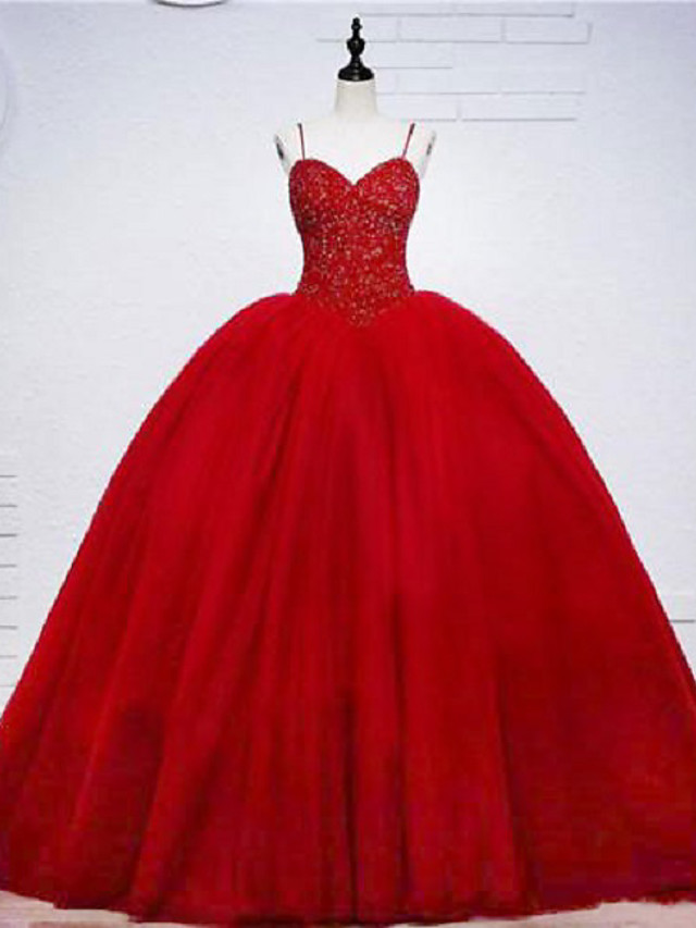 Ball Gown Elegant Beautiful Back Engagement Formal Evening Dress Sweetheart Neckline Sleeveless Sweep / Brush Train Tulle with Beading Tier 2020
