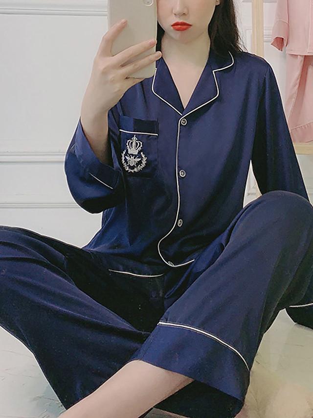 Жен. Дом Имитация шелка Loungewear Сплошной цвет M Черный