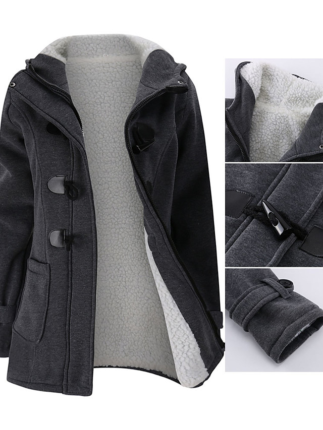 Women's Jacket Solid Colored Basic Fall & Winter Regular Daily Long Sleeve Wool Coat Tops Blue