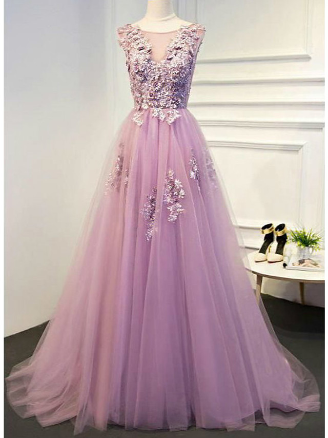 A-Line Floral Empire Engagement Formal Evening Dress Illusion Neck Sleeveless Floor Length Lace Tulle with Pleats Appliques 2020