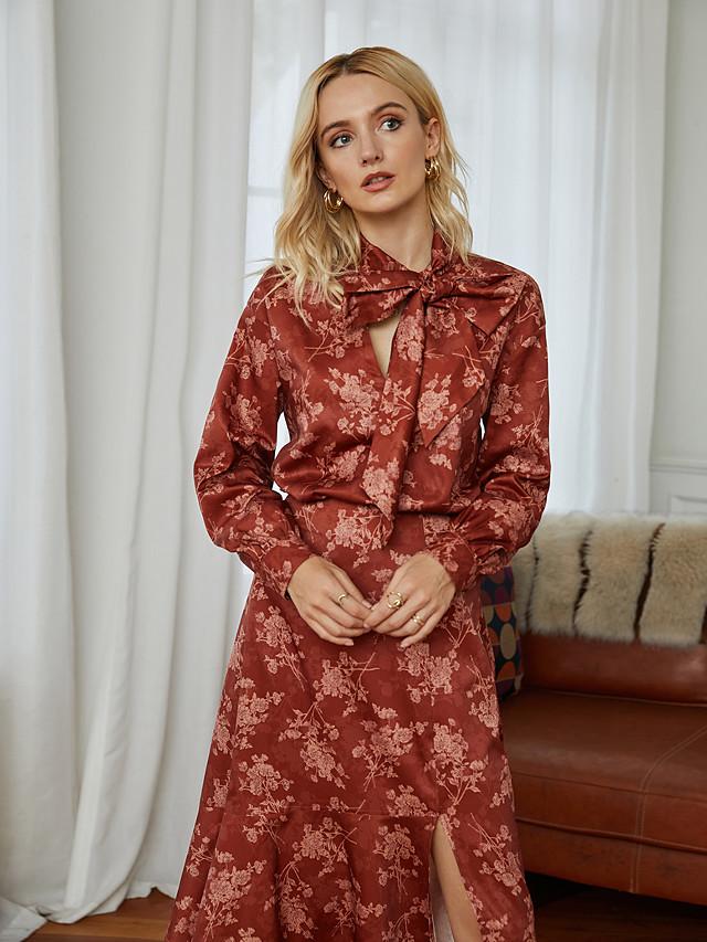 Women's Blouse Shirt Floral Leaf Flower Long Sleeve Bow Choker Tops Elegant Vintage Basic Top Red