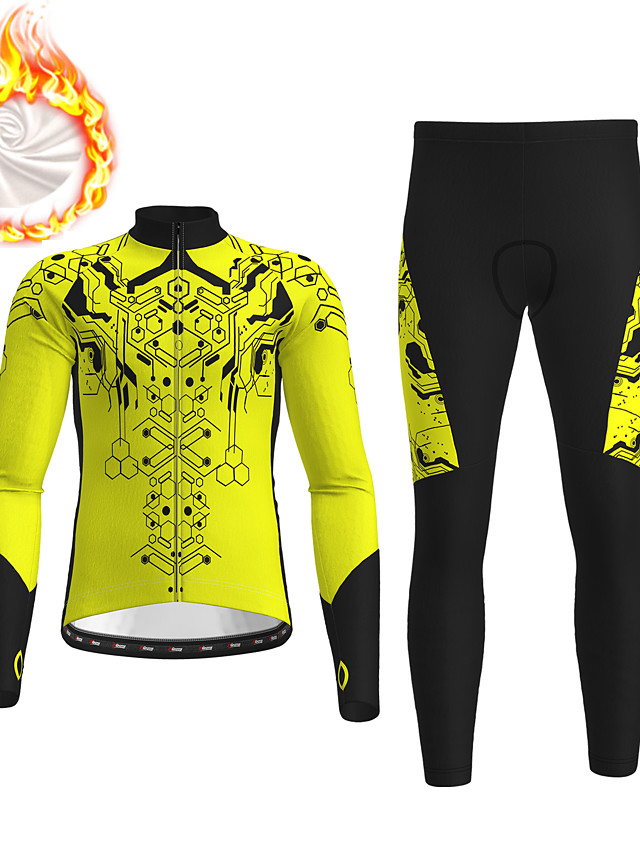 21Grams Men's Long Sleeve Cycling Jersey with Tights Winter Fleece Polyester Black / Yellow Red Blue Bike Clothing Suit Fleece Lining 3D Pad Warm Quick Dry Breathable Sports Graphic Mountain Bike MTB