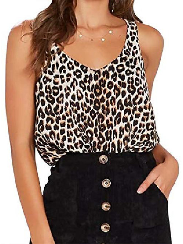 women sleeveless leopard print sling tank tops casual sleeveless t-shirt blouse vest camisole black