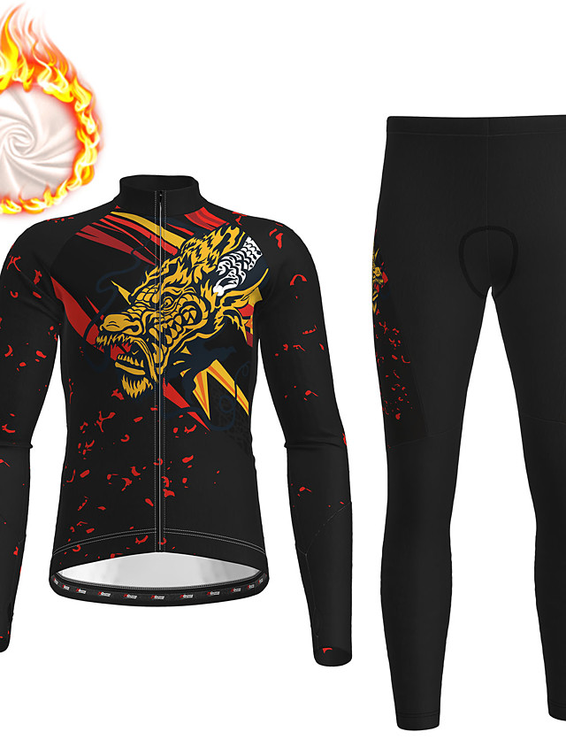 21Grams Men's Long Sleeve Cycling Jersey with Tights Winter Fleece Polyester Black Dragon Bike Clothing Suit Fleece Lining 3D Pad Warm Quick Dry Breathable Sports Dragon Mountain Bike MTB Road Bike