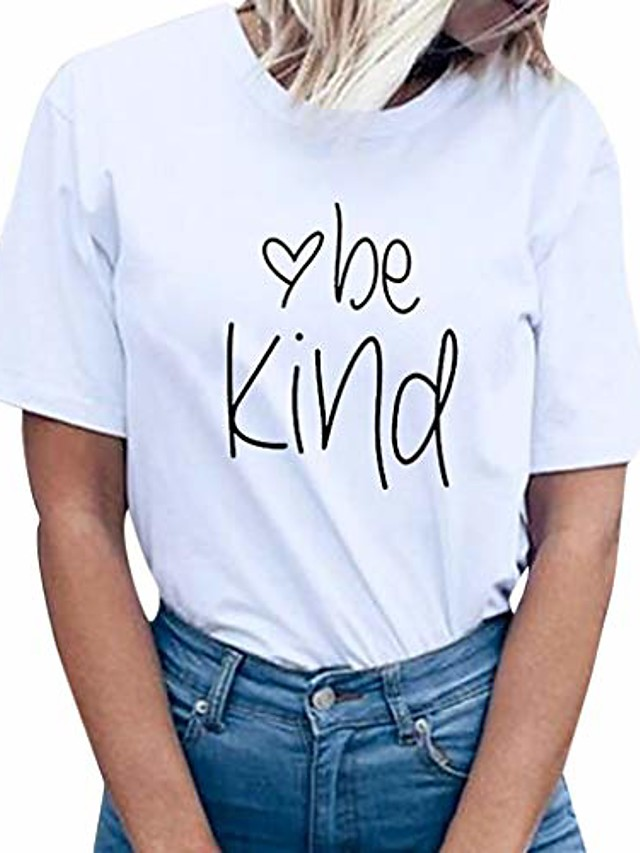 funic women summer fashion be kind letter print short sleeve t-shirt tops blouse tee(white,xl)