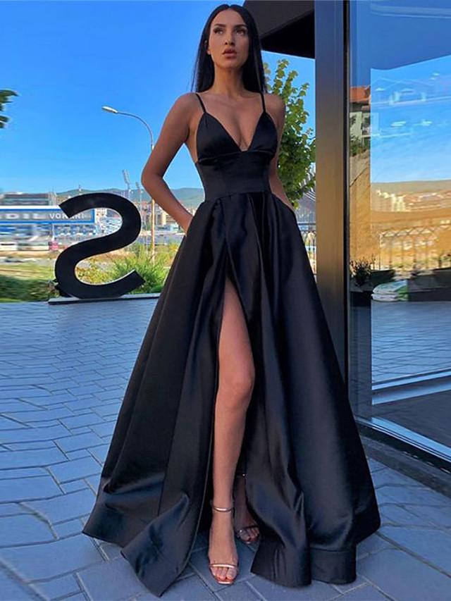 A-Line Minimalist Sexy Prom Formal Evening Dress Spaghetti Strap Sleeveless Sweep / Brush Train Satin with Pleats Split Front 2020