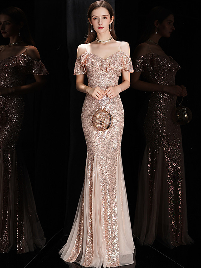 Mermaid / Trumpet Sexy Sparkle Engagement Formal Evening Dress V Neck Sleeveless Floor Length Sequined with Sequin Ruffles 2020