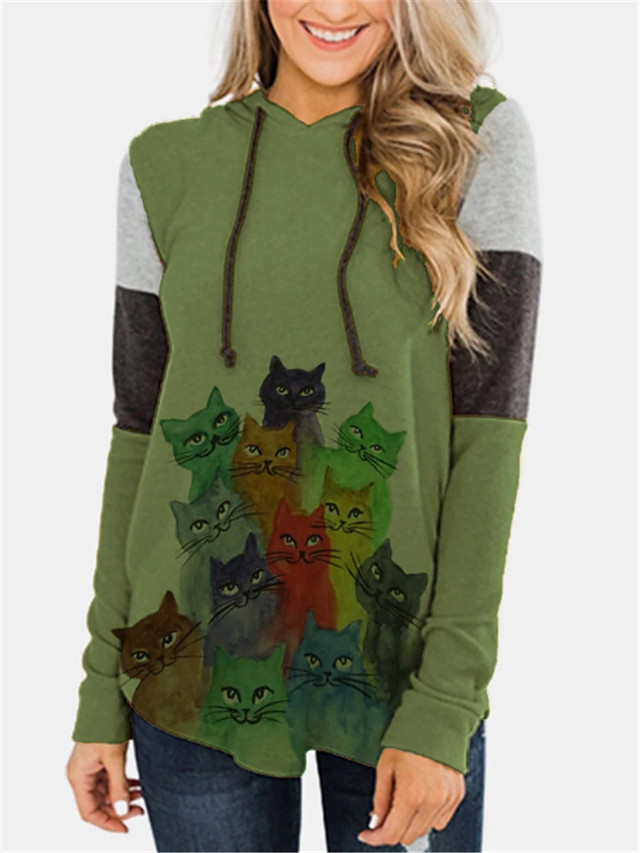 Women's Hoodie Pullover Cat Animal Patterned Daily Casual Hoodies Sweatshirts  Blue Green