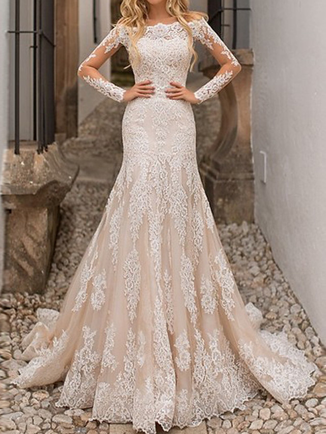 A-Line Wedding Dresses Jewel Neck Sweep / Brush Train Lace Tulle Long Sleeve Country with Pleats 2021