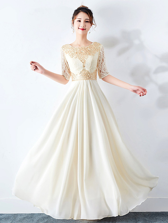 A-Line Elegant Empire Wedding Guest Engagement Dress Jewel Neck Half Sleeve Floor Length Chiffon with Appliques 2020