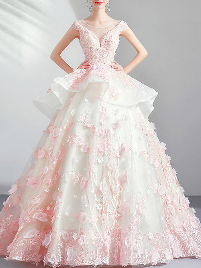 Ball Gown Elegant Floral Quinceanera Engagement Dress Illusion Neck Sleeveless Floor Length Lace Tulle with Beading Appliques 2020