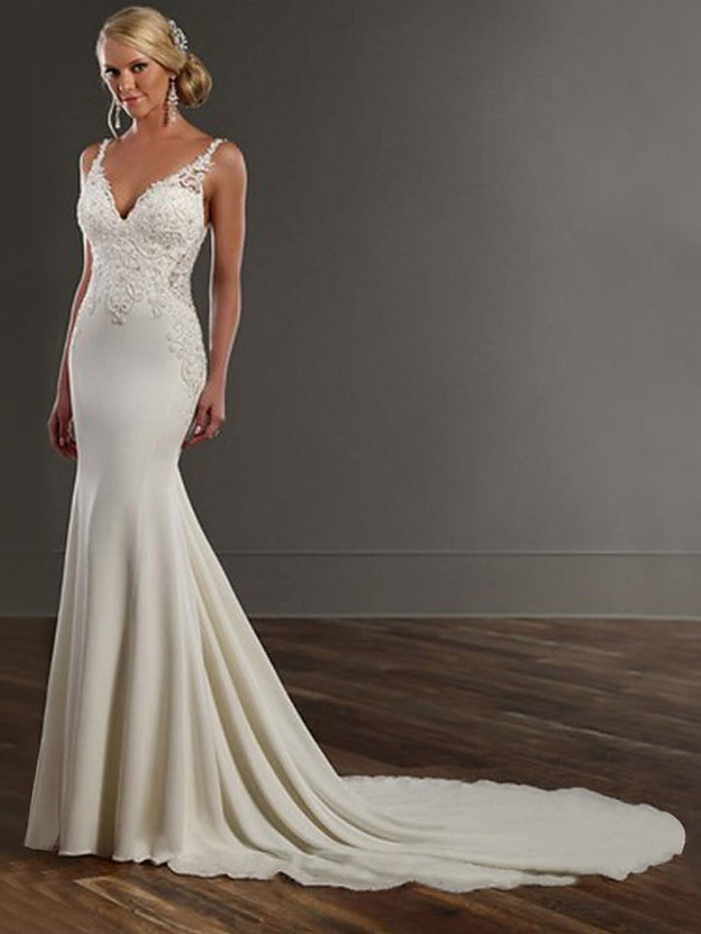 Mermaid / Trumpet Wedding Dresses V Neck Chapel Train Lace Stretch Satin Spaghetti Strap See-Through Beautiful Back with Appliques 2021