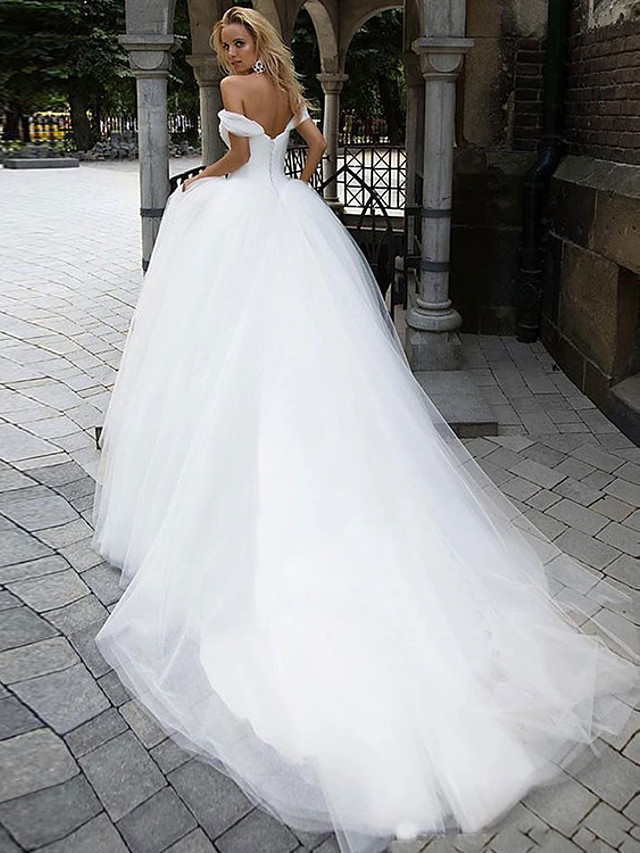 Ball Gown Wedding Dresses Off Shoulder Chapel Train Tulle Short Sleeve with 2021