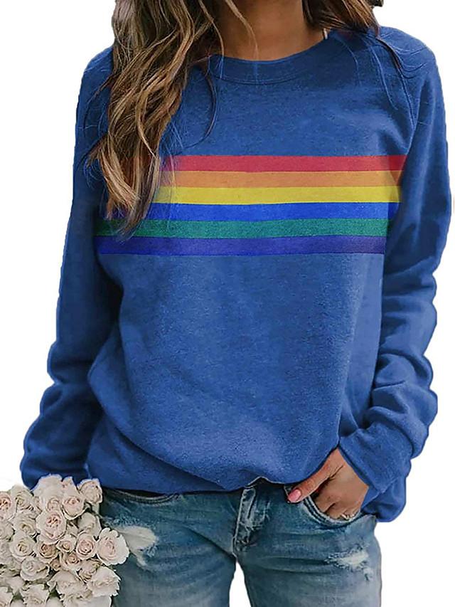Women's T shirt Rainbow Graphic Long Sleeve Round Neck Tops Basic Casual Basic Top Blue Red Khaki