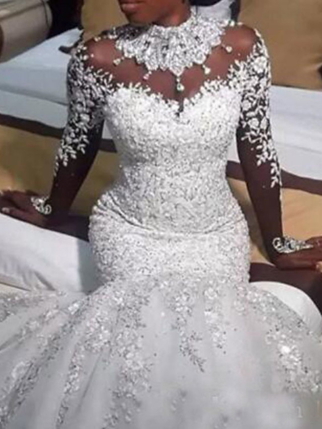 Mermaid / Trumpet Wedding Dresses Jewel Neck Sweep / Brush Train Lace Tulle Long Sleeve Casual Plus Size with Beading Appliques 2021