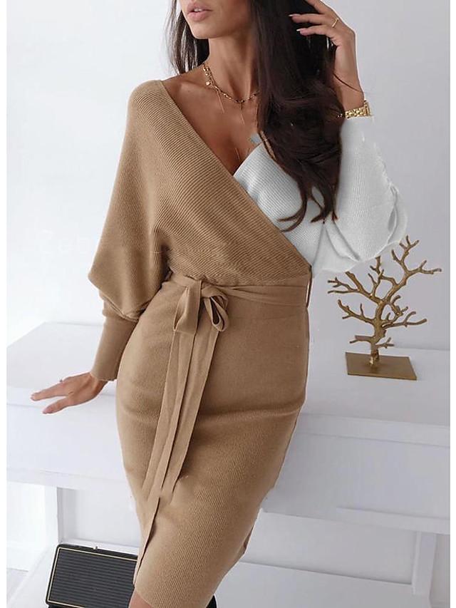 Жен. Платье-свитер Мини-платье - Длинный рукав Контрастных цветов Пэчворк Осень V-образный вырез На каждый день 2020 Хаки M L XL XXL 3XL