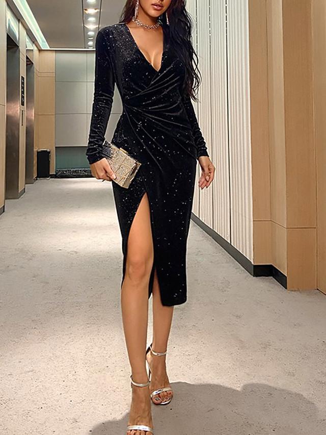 Women's Sheath Dress Knee Length Dress Black Long Sleeve Solid Color Split Fall Spring V Neck Sexy 2021 S M L