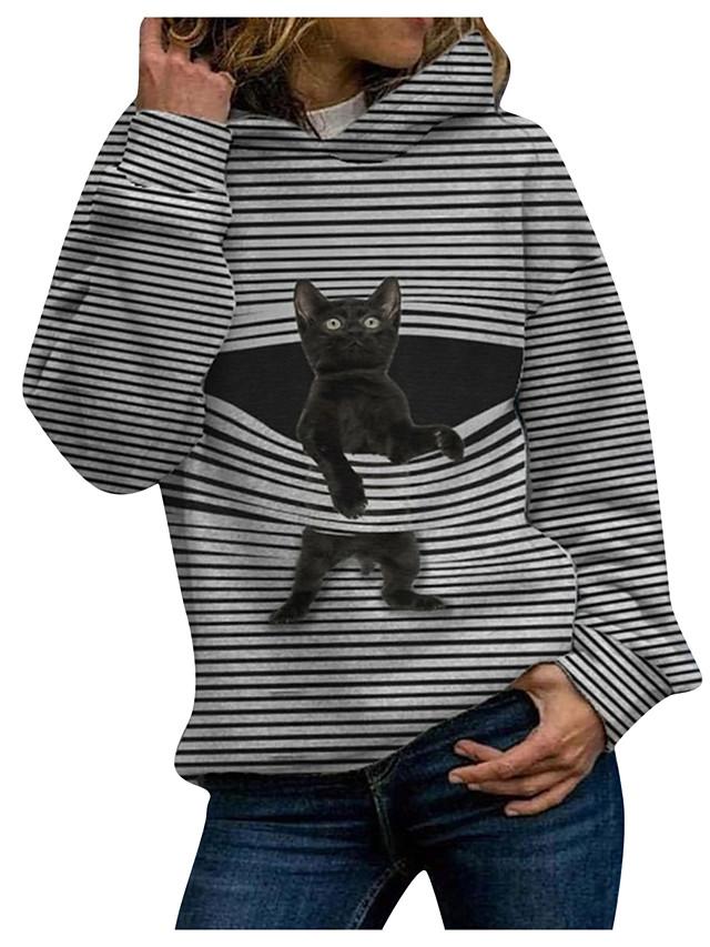Women's Pullover Hoodie Sweatshirt Cat Graphic Christmas Daily Casual Christmas Hoodies Sweatshirts  Black Blue Green