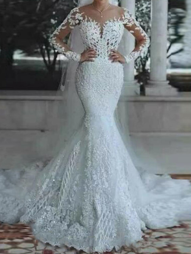 Mermaid / Trumpet Wedding Dresses V Neck Floor Length Lace Polyester Long Sleeve Country Casual Plus Size Illusion Sleeve with Draping Appliques 2021