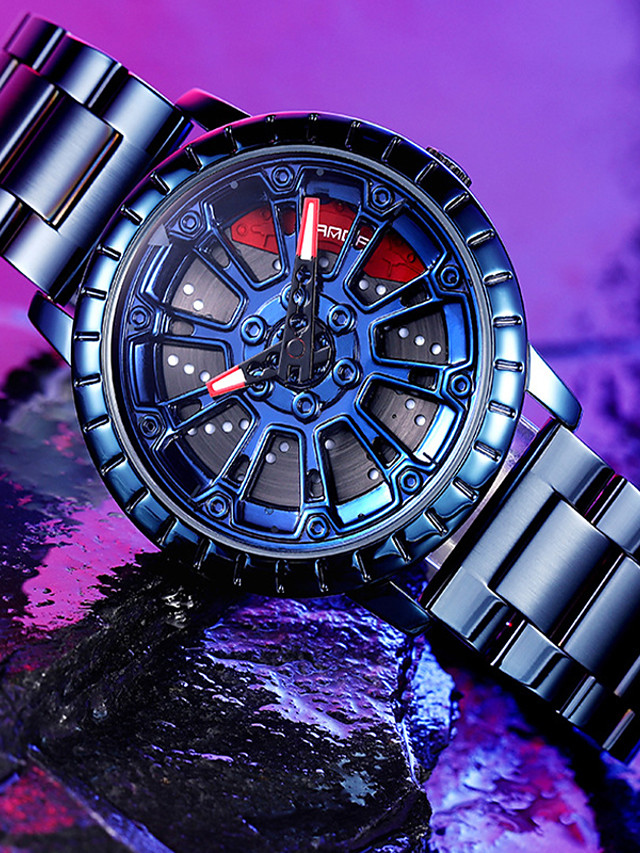 SANDA Men's Steel Band Watches Quartz Modern Style Classic Water Resistant / Waterproof Analog - Digital Black Blue Gold / One Year / Stainless Steel / Japanese