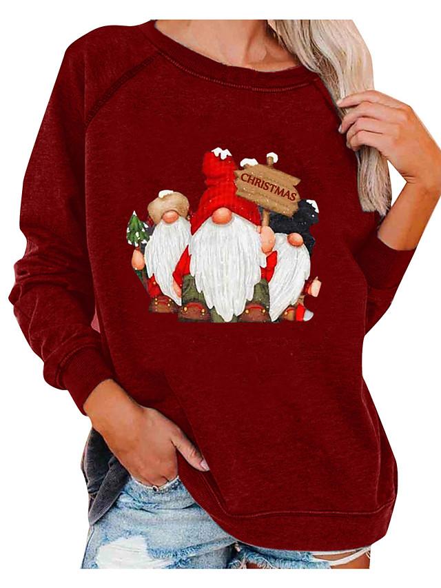 Women's Hoodie Sweatshirt Print Christmas Daily Casual Christmas Hoodies Sweatshirts  Loose Wine Gray White