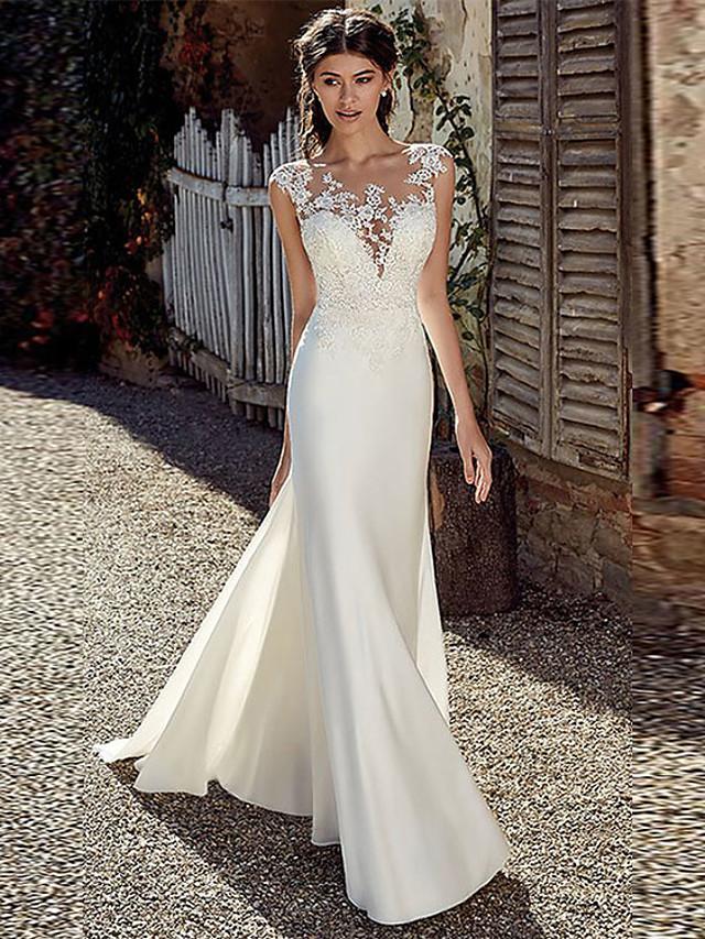 A-Line Wedding Dresses Bateau Neck Court Train Chiffon Lace Tulle Cap Sleeve Illusion Detail Backless with Lace Appliques 2020