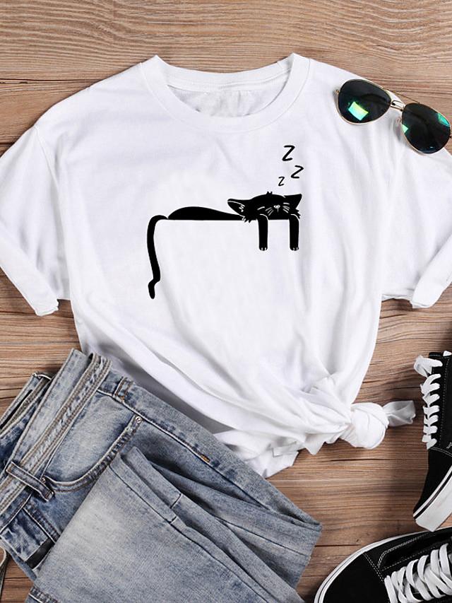 Women's T-shirt Cat Graphic Prints Print Round Neck Tops 100% Cotton Basic Basic Top White Black Purple