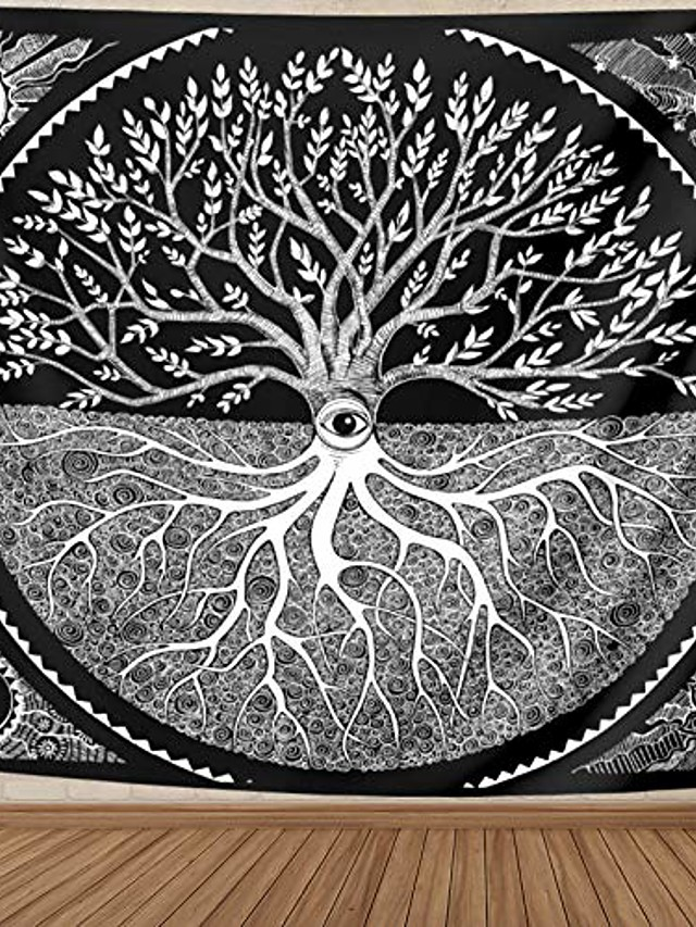 tapestry wall hanging for bedroom black and white, tree of life sun moon art wall blanket aesthetic home dorm decor for living room